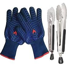 guantes de barbacoa y y cm pinzas de cocina de acero inoxidable  f mitades de asar a la parrilla resistentes al calor para su cocina