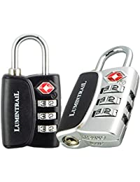 Lumintrail 2 Pack Tsa Approved Travel Locks 3 Digit Resettable Combination All Metal International Luggage For...