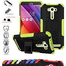 Asus Zenfone 2 Laser 5.0 Funda,Mama Mouth Heavy Duty silicona híbrida con soporte Cáscara de Cubierta Protectora de Doble Capa Funda Caso para Asus Zenfone 2 Laser 5.0 ZE500KL,Verde