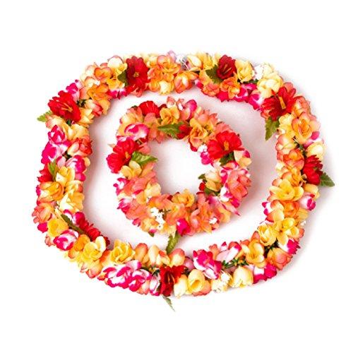Hawai-flor-Garland-collar-diadema-casco-establecer-Tinksky-Festival-Luau-playa-fiesta-Luau-cotilln
