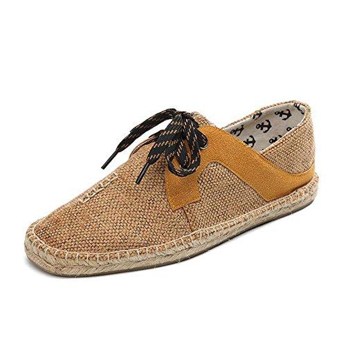 HUAN Chaussures de Toile Pour Hommes 2018 New Lin Chaussures Décontractées Mocassins Plats Simples Chaussures à Lacets Mode Respirante A