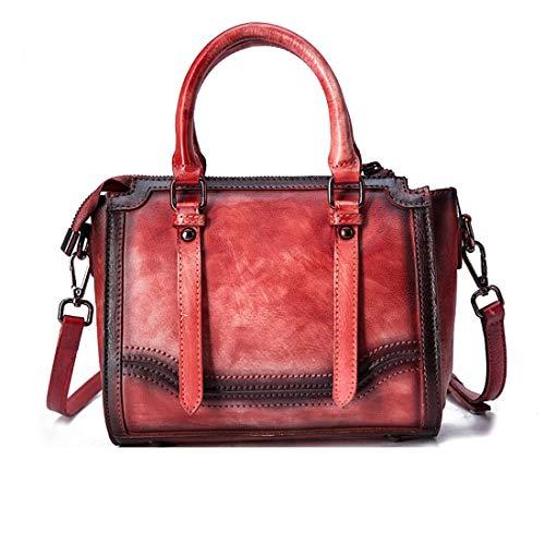 Preisvergleich Produktbild Yahuyaka Damen-Geldbeutel-Schulter-Beutel-Taschen-Beutel-Oberseiten-Griff-Schultasche, Weinlese-Leder-Handtaschen für Frauen (Color : A-Red)