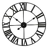 Eurosell - Riesige 60cm Metall Wanduhr - Römisch - Designer Uhr - XXL - Römisches Ziffernblatt Schwarz