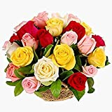 Florazone Colorful Pearls Basket Arrangement of Mix Roses