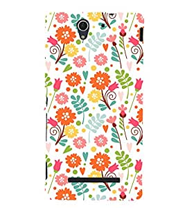 printtech Floral Designer Pattern Back Case Cover for Sony Xperia C3 Dual D2502