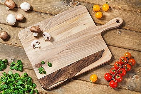 Gourmet Grand 32x 28x 28x 2cm. Planche à découper rectangulaire avec manche en noyer à grain fin