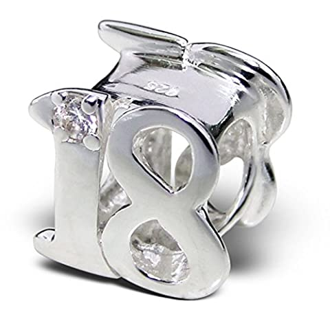 Silvadore - Silver Bead - ''18'' Sweet Teenager Adult Eighteen Number Figure Numerals Birthday Crystal Cz - 925 Sterling Charm 3D Slide On 466 - Fits Pandora European Bracelet - Free Gift