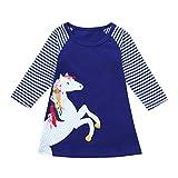 Riou Weihnachten Baby Kleidung Set Pullover Outfits Winteranzug Kinder Baby Mädchen Deer Gestreifte Prinzessin Kleid Weihnachten Outfits Kleidung (160, Blau K)