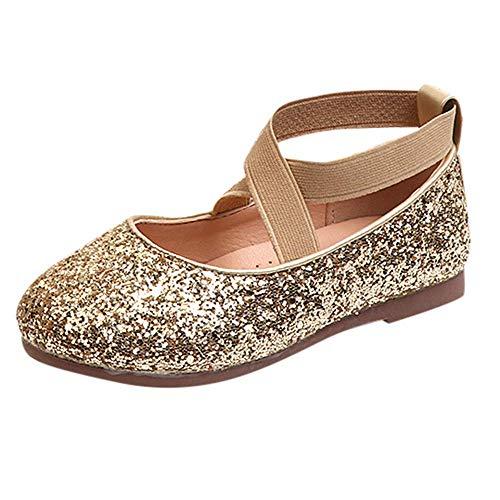 CixNy Tanzschuhe Kleinkind Schuhe Kinderschuhe Mädchen Kristall einzelne Schuhe Ballerinas T-Strap Schuhe Lederschuhe Lauflernschuhe Mädchen Prinzessin Schuhe Shoes Gold Schwarz Pink Gr.26-35