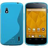 kwmobile Funda para LG Google Nexus 4 - Case para móvil en TPU silicona - Cover trasero Diseño línea en S en azul transparente