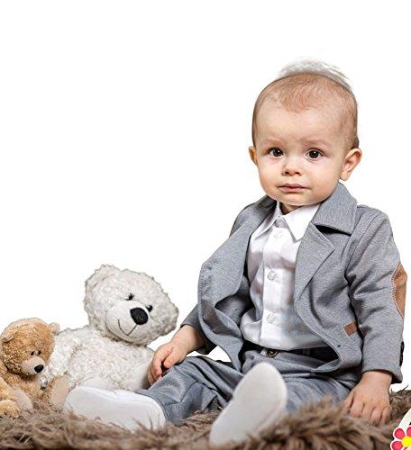 BIMARO Baby Jungen Babyanzug Paul Taufanzug grau beige Jersey Hemd weiß Fliege Cap Anzug Taufe Hochzeit Anlass, Größe:56