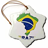 3dRose Orn_51743_1 Brazilian Flag in The Map and Letters of Brazil Snowflake Decorative Hanging Ornament, Porcelain, 3-Inch
