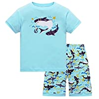 Qtake Fashion Boys Pajamas Children Clothes Dinosaur Set 100% Cotton Little Kids Pjs Sleepwear (1-2 Years, Shark2)