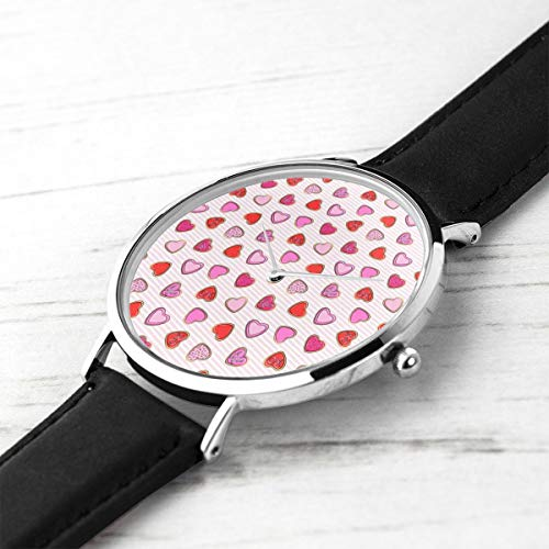 Unisex Ultra Thin Fashion Minimalist Armbanduhren Herz Zucker Kekse Valentines Pink Stripe CBS wasserdicht Quarz Casual Watch Mens Womens