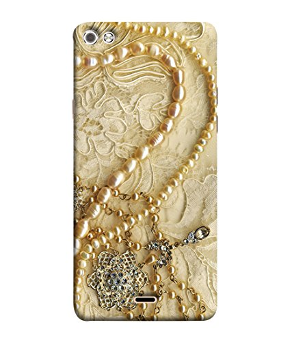 FUSON Printed Designer Back Case Cover for Micromax Canvas Sliver 5 Q450 :: Silver Q450 (Printed Pearls Diamonds Pendent Gold Hand Embroidery Stitches)