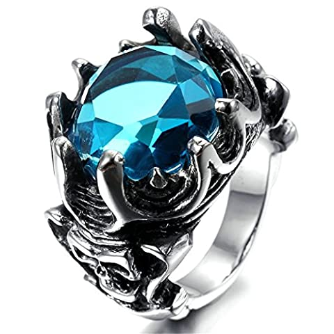 Stainless Steel Ring for Men, Crown Ring Gothic Blue 16*18MM Size T 1/2 Epinki