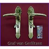 Graf von Gerlitzen Antik Messing Tür BB 72 Griffe Türgriffe Türbeschlag Türklinken Langschild Jugendstil S38-1P
