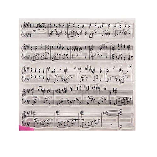 ECMQS Music Score DIY Transparente Briefmarke, Silikon Stempel Set, Clear Stamps, Schneiden Schablonen, Bastelei Scrapbooking-Werkzeug