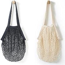 Wiederverwendbare Einkaufstasche von Metyou, aus Netzstoff, Organizer, Tasche für Obst Black,beige