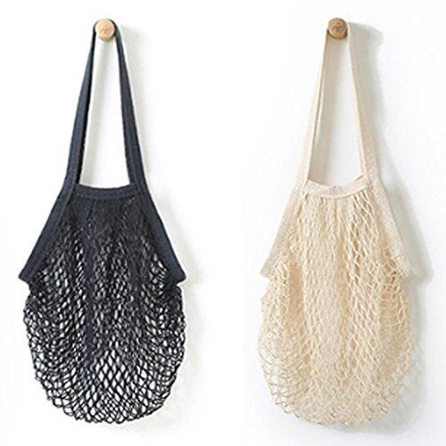 2pcs Portable wiederverwendbare Netz-Baumwollnetz-Schnur-Beutel-Organisator-EinkaufsTote-Handtaschen-Frucht-Speicher-Käufer NEU -
