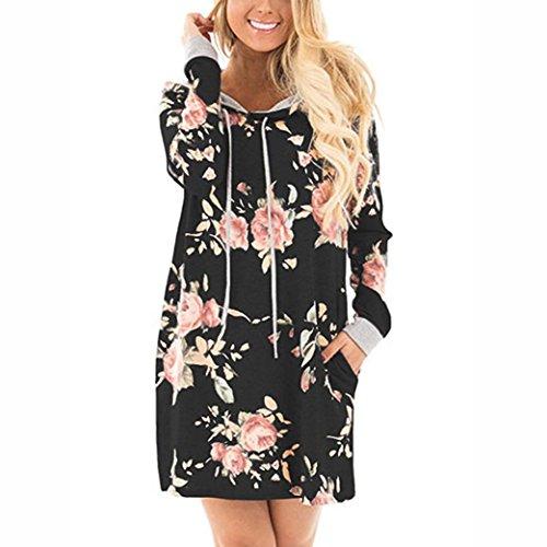 Gedruckt Kette Bikini-top (DOLDOA Frauen langes Hülsen beiläufiges loses O-Ansatz Blumen gedrucktes mit Kapuze Kleid (EU: 38, Schwarz))