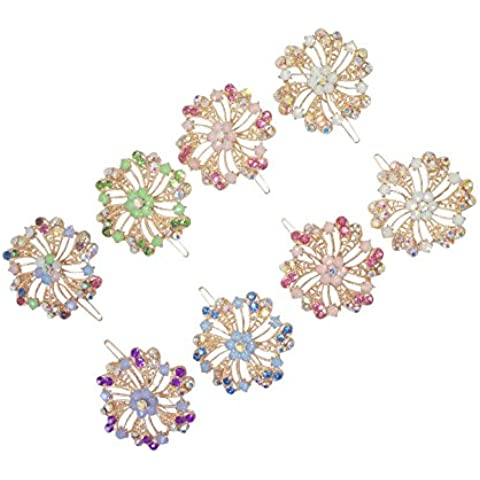8 Piece Crystal Bling Flower Barrettes Designer Fashion Hair Accessory for Teens & Women by FashionNut Special Birthday Gift Idea Teens Roommates Girlfriend Women Best Back to School College Supplies by