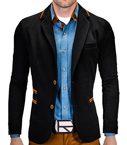 BetterStylz Juan Herren Sakko Jacket Blazer Freizeit Buisiness Jacke Slimfit Größen (S-XL) (XXL, Night Black) (Braunes Sakko,)