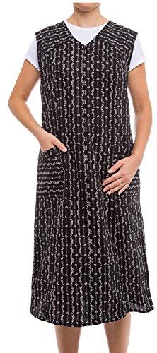 Tobeni Damen Kittelschürze lang mit Reissverschluss und Taschen ohne Arm 100% Baumwolle Farbe Schwarz-Weiss-Design1 Grösse 48 -