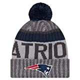 New England Patriots New Era 2017 NFL Sport Knit Cuffed Hat Hut with Pom - Graphite