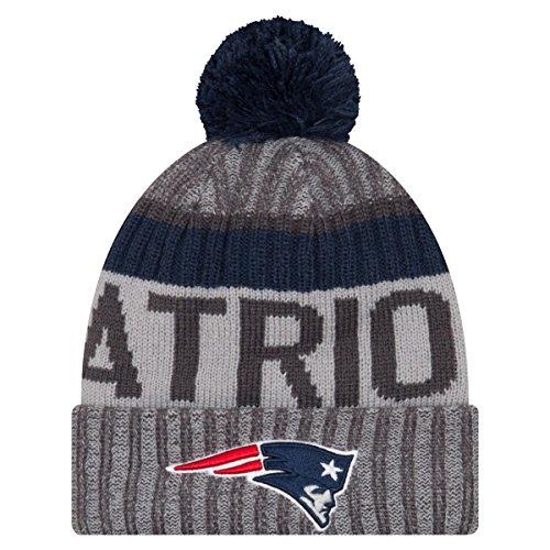 New England Patriots New Era 2017 NFL Sport Knit Cuffed Hat Hut with Pom - Graphite