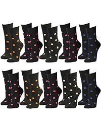 10 Paar Damen Socken Freizeit Socken in schwarz mit farbigen Punkten