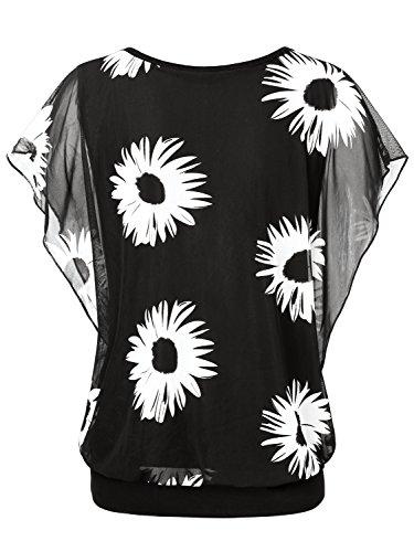 BAISHENGGT Damen Falten Kurzarm Tunika Batwing Rundkragen Bluse Schwarz-Blumen