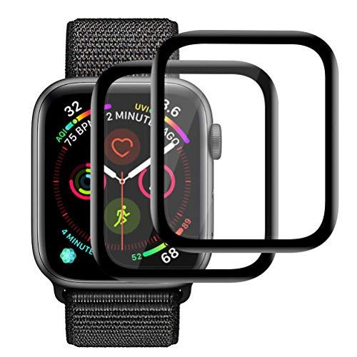 Ossky Panzerglas Schutzfolie für Apple Watch Serie 4 44mm, 3D Curved Panzerglas Volle Bedeckung Ultra-Klare Blasenfreie Displayschutzfolie für iWatch 44mm Series 4