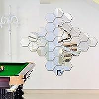 3D Miroir Stickers muraux, Yogogo 12pcs Miroir Hexagone 3D Vinyle amovible Autocollant muraux Décalcomanies Accueil Décor Art Bricolage (Argent)