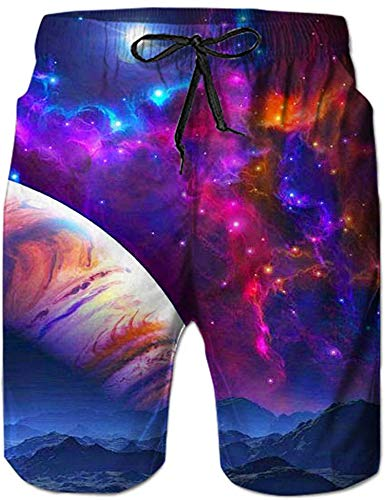 Loveternal Badeanzüge für Männer Badehose Galaxis Strand Kurze Hosen 3D Print Elastische Taille Surfing Badeshorts XXL -