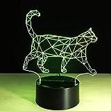 WJPDELP-YEDE 3D Faule Katze Walking Cat Lampe Lampe Farben Veränderbar LED Nachtlicht Kinder Tisch Schreibtischlampe Decor Baby Schlaf Beleuchtung