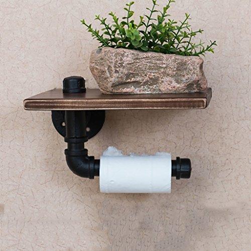 Dongyd Salle de Bains en Bois Solide Porte-Papier Rouleau de Papier Toilette créatif - 25 * 13 * 18cm-2 Tier rétro en Fer forgé Noir Porte-Tuyau d'eau Industrielle