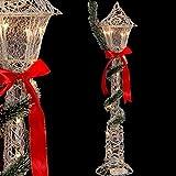 Bakaji Christmas Lampione Natalizio 10 LED con Fiocco Rosso e Ghirlanda Decorazioni Addobbi di Natale Dimensione 90 x 20 cm Colore Silver