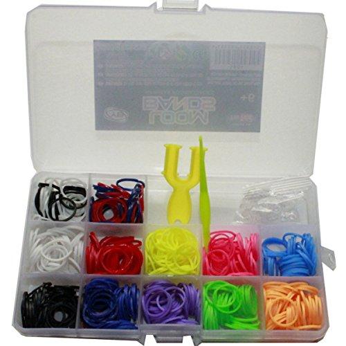 VanyStore Junior Loom Bands Starter Box Set ink 600 Loom Bandz + mini Tool Webrahmen + Hacken + 20 S Clips 10 Verschiedene Farben