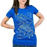 style3 NES Controller Blaupause Damen T-Shirt 8-Bit Mario Donkey bros Kong, Farbe:Blau;Größe:XL