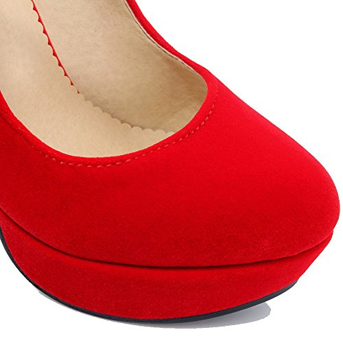 VogueZone009 Donna Tacco Alto Colore Assortito Fibbia Punta Chiusa Punta Tonda Ballerine Rosso