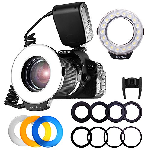 FOSITAN RF-600D 18 SMD LED Makro Blitzlicht Ringblitzleuchte für Nikon Canon Kamera DSLR mit LCD Display Power Control, 8 Adapter Ringe, 4 Licht Diffusor Led Ring Flash