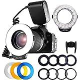Fositan RF 600D 18Macro LED Ring Light Mi Hot Shoe for Canon Nikon Sony Olympus Panasonic Pentax with 8Adapter Rings 4Flash Diffusers LCD Screen Display