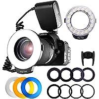 Fositan RF-600D 18 Antorcha de luz LED macro Para Canon Nikon Sony MI Hotshoe Olympus Panasonic Pentax Con 8 anillos de adaptador 4 difusores de flash Pantalla LCD