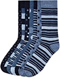 Marca Amazon - find. Calcetines de Estampados Variados para Hombre, Pack de 7, Azul (Blue Mix), Large