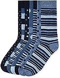find. Calcetines de Estampados Variados para Hombre, Pack de 7, Azul (Blue Mix), Medium