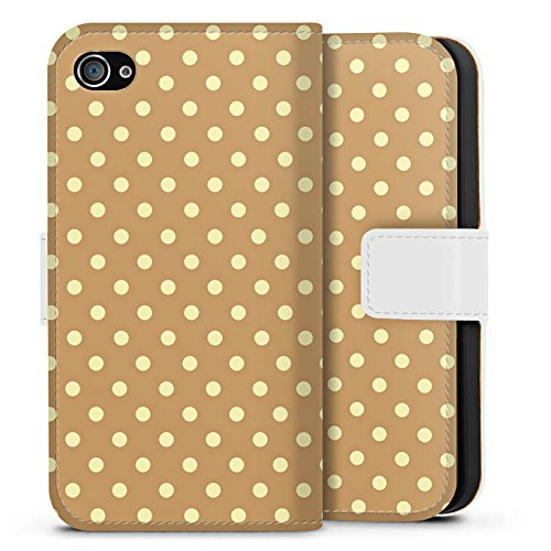Apple iPhone X Silikon Hülle Case Schutzhülle Punkte Muster Polka Sideflip Tasche weiß