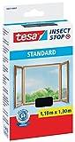 tesa Fliegengitter für Fenster, Standard Qualität, schwarz (anthrazit), durchsichtig. (1,1m:1,3m / 5er Pack, Unsichtbar (anthrazit))