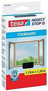 tesa Fliegengitter für Fenster, Standard Qualität, anthrazit, durchsichtig. (1,1m:1,3m, schwarz)