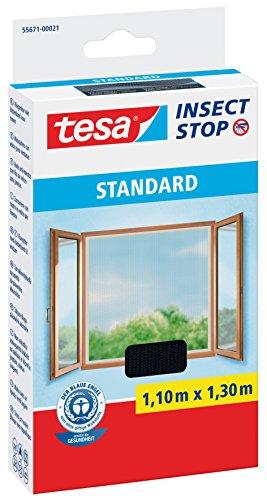 tesa® Insect Stop Fliegengitter STANDARD für Fenster, nahezu durchsichtig (1,10 m x 1,30 m / 4er Pack, schwarz / anthrazit)